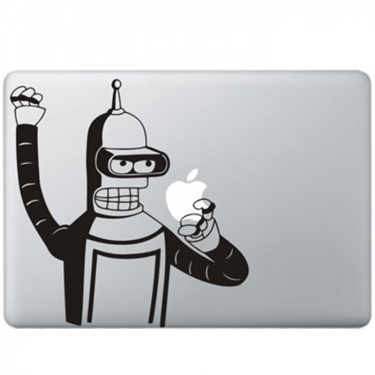 Futurama Bender (2) MacBook Sticker Zwarte Stickers