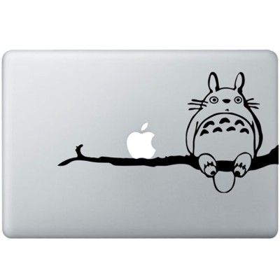 Totoro On Tree MacBook Sticker Zwarte Stickers
