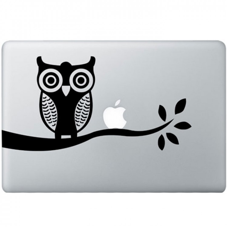 Uil MacBook Sticker Zwarte Stickers