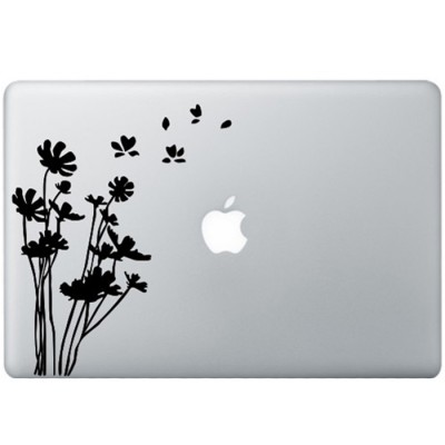 Bloemen MacBook Sticker Zwarte Stickers