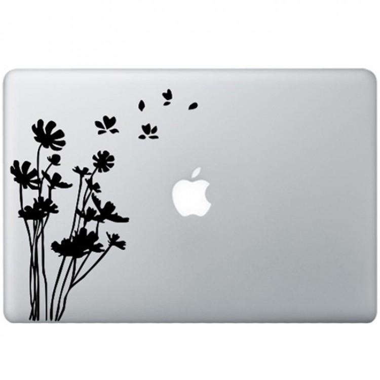 Bloemen MacBook Sticker Zwarte Stickers