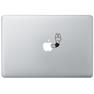 Wormpje MacBook Sticker Zwarte Stickers