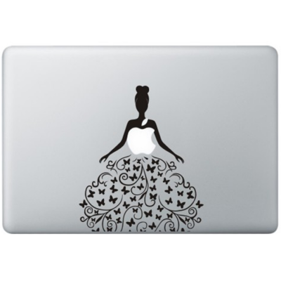 Vlinders Jurk MacBook Sticker Zwarte Stickers