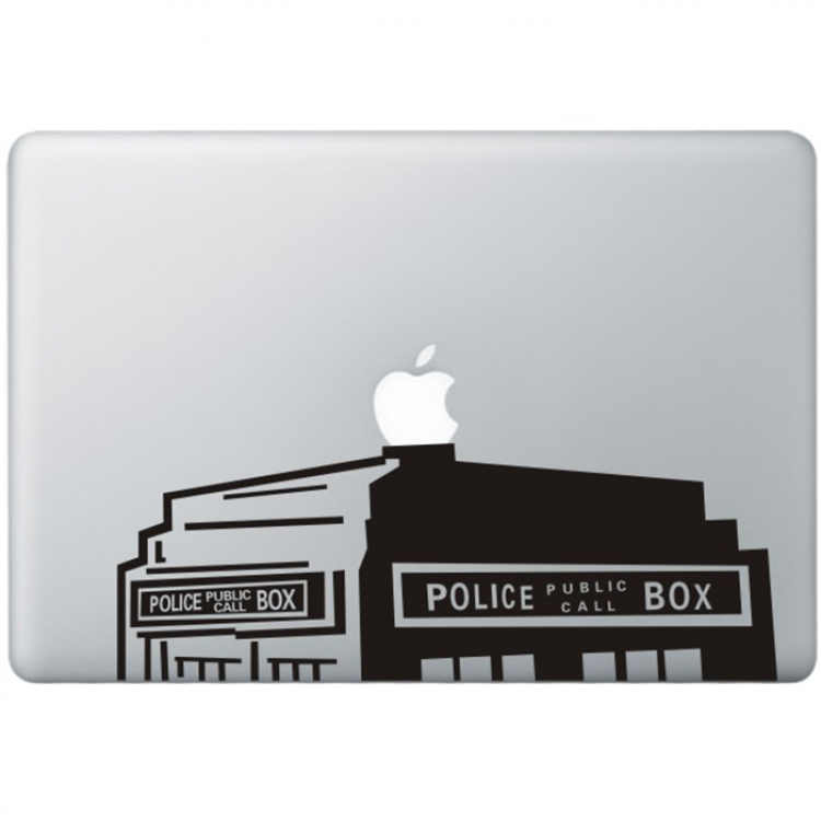 Dr. Who The Tardis (2) MacBook Sticker Zwarte Stickers