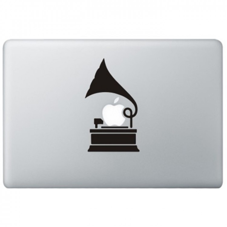 Grammofoon MacBook Sticker Zwarte Stickers