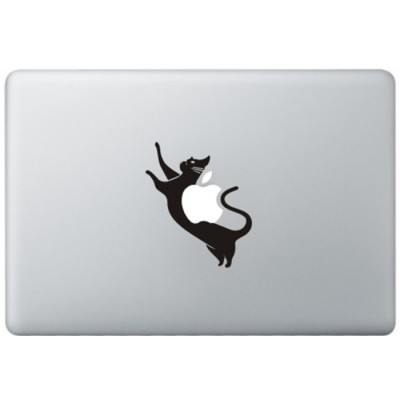 Space Kat MacBook Sticker Zwarte Stickers