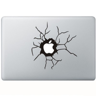 Cracked Apple MacBook Sticker Zwarte Stickers
