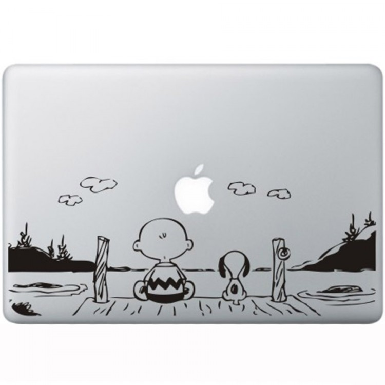 Snoopy en Charlie Brown MacBook Sticker Zwarte Stickers