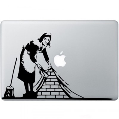 Banksy Maid In London Macbook Sticker Zwarte Stickers