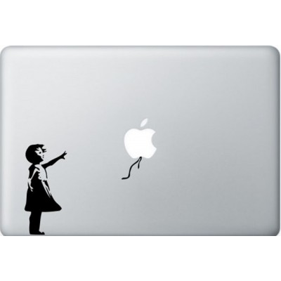 Banksy Girl MacBook Sticker Zwarte Stickers
