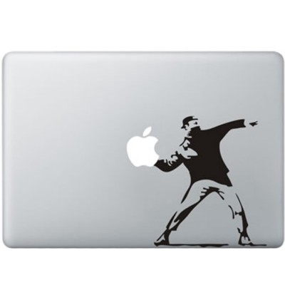 Banksy Throwing Flowers MacBook Sticker Zwarte Stickers